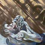 Kuss, 1986, Mischt./LW, 105 x 135 cm, 900,--€