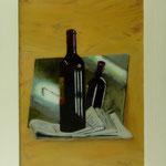 Rotwein auf Zeitung, 2007, Hgl, 56 x 74 cm 500,-€