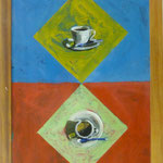 Tassen auf Quadraten, 2003, Hgl, 48x63 cm, 300,-€