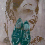 Herrenschuhe/Portrait, 1993, Öl/LW, 60 x 70 cm