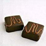 La Mathilde: ganache chocolat noir sur une base de praliné aux noisettes