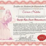 Zertifikat geprüfte Raks-Sharki-Bühnentänzerin
