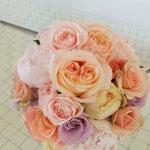 ウェディング ブーケ ブライダル 花ひろ 福井 結婚式 クラッチ ナチュラル アプリコット ピンク