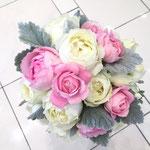 ラウンドブーケ 福井 鯖江 花屋 花ひろ ウェディング ブライダル 結婚式 披露宴 挙式 バラ ピンク ホワイト シラス