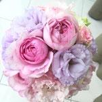 ウェディング ブライダル ラウンドブーケ ピンク パープル ブーケ 花ひろ 福井 結婚式