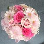 ラウンドブーケ ピンク リボン カラードレス