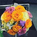 ラウンドブーケ 福井 鯖江 花屋 花ひろ ウェディング ブライダル 結婚式 披露宴 挙式 オレンジ ラナンキュラス