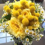 ウェディング ブーケ ブライダル 花ひろ 福井 結婚式 クラッチ ナチュラル 黄色 イエロー グラスペディア