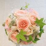 ラウンドブーケ ピンク レース リボン ウェディング ブーケ ブライダル 花ひろ 福井 結婚式