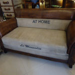 Goat leather cambass sofa W147cmD80cmH79cm Rs,59,000