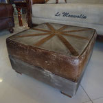 Goat leather cambass ottoman W53cmD53cmH31cm Rs,8,800