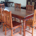 Shesham dining table W6feetD3feetH76cm Rs,22,000 , Chair Rs,4,000