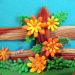 Bauernhof Torte aus Fondant - Blüten