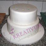 Torten richtig stapeln - nächste Torte draufsetzten und dawischen etwas Icing