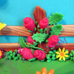 Bauernhof Torte aus Fondant - Mini Rosen