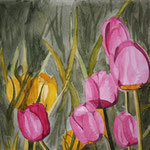 Tulips in paint