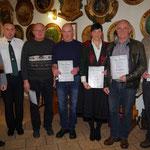 Ehrenurkunde des Vereins für: Bernd Stiglat, Martin Büchner, Claudia Blask, Udo Heiblein und Peter Fischer