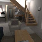 Décoration intérieure espace salon, salle à manger, cuisine - projet 3D