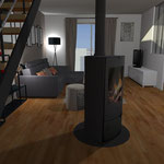 Aménagement espace salon en 3D