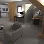 Projet 3D aménagement salon, salle à manger, cuisine