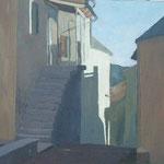 Ulica v kraško hišo , olje na platno, 50x70cm 2000.