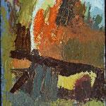 Prek ograje , olje na platno, 26x17cm 2000, predelana 2005. p.l.