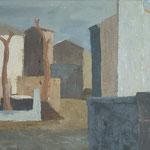 Kraške hiše ob cerkvi, akril na platno, 70x100cm 2000
