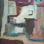 Med hišami, olje na karton, x cm 2000