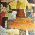 Med pisanimi strehami, olje na platno, 80,5x65cm 2002