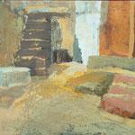 dve stopnišči, olje 50x70,5 2002 p.l.