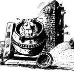 Schafe, Schafe - Häusle baue   Wortspielerei   Tusche auf Papier   Cartoon