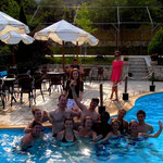 Celebrating the victory of water aerobics shows