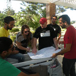 Preparation of a presentation during the training outdoors