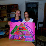 """Participants presenting their poster for a exhibition """"Health=Happiness"""""""