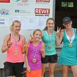 Carolin Merz (2. Platz, TSV Schwebheim), Marielena Mönch (1. Platz, SB Versbach), Helena Steiner (3. Platz, ATC Arnstein), Eileen Linxen (4. Platz, ATC Arnstein) sowie Christina Sieverdingbeck (4. Platz, ATC Arnstein)