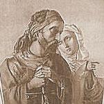 Ritter und Nonne - ein romantisches Motiv! -Stahlstich von Johann Sonnleitner (1855) nach Jószef Borsos