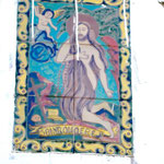 Der Heilige an der Außenwand der Kapelle