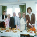 Party time when the Citizens Advice Bureau started operating from the Community House. Left to right are Vera Spencer, Carol Hodby, Amy, John Higgins (first chairman of Fox Hollies Residents Association), Marion Westwood, Evelyn Jones, and Pauline Carter.