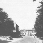 The Warwick Road by the Red Lion pub, c. 1915. The Picture Playhouse is visible in the background, while on the right are hedges to the first Eastbourne House School and a large house later occupied by Dr. Dain.