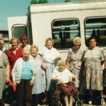 Summer 1992 with our bus outside the Community House. Left to right are Evelyn, Elsie, Alice Cornwall, Carol Hodby, Annie, Fred Hannon, Ivy Stanley, Pauline Carter, Jean, Rose, Renee Martin, Emily, Gladys, Winnie Heath, Edna Bash, Dolly Shepherd.