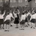 Sheelagh Jarmolkiewicz and others in the back school playground
