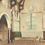 Interior of the Methodist church, Shirley Road, posted in 1906. The earliest part of the church dates from 1863, but the most striking part is the 1882 Gothic spire at the corner of Botteville Road.