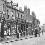 Shops on the Warwick Road, c.1901. Station Road is on the right, and the building on that corner became the silent cinema, the Picture Playhouse, late in 1913 (see below).