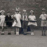 School King and Queen, c. 1955. Sheelagh Jarmolkiewicz is the Queen, John Richards the king, Molly Bird the Maid of Honour, and Stephen Everton the Maid's Escort (thanks to Sheelagh for this and the four photos below)