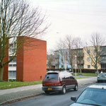 Flats, Aspen Close, c. 1976, with Glyde Court beyond, 2002