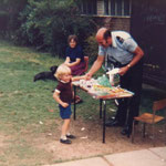 Sergeant Richardson giving out prizes. He was our knight in shining armour. He rode a big motor bike and often bought us ice creams. He also repaired the ceiling of the portakabin, which yobs had broken.