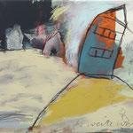 outside- die weite Welt,2014 Buntstift, Kohle, Acryl. Bleistift,Pastell auf Leinwand 30 x 40 cm