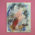 o.T. 2014, Öl auf Linwand 100 x 9o cm, auf Wandmalerei