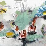 listen to long forgotten fear,2014 Buntstift, Kohle, Acryl. Bleistift,Pastell auf Papier 100 x 140 cm