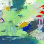 Sehnsucht-leise leben denken, 2014 Buntstift, Kohle, Acryl. Bleistift,Pastell auf Papier 100 x 140 cm
